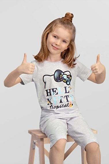 Hello Kitty Hello Kitty Lisanslı Yavruağzı Kız Çocuk T-Shirt Gri